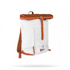 White canvas backpack with Ketel One Vodka branding